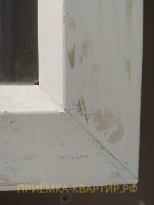 Приёмка квартиры в ЖК Ясно Янино: повреждение профиля окна