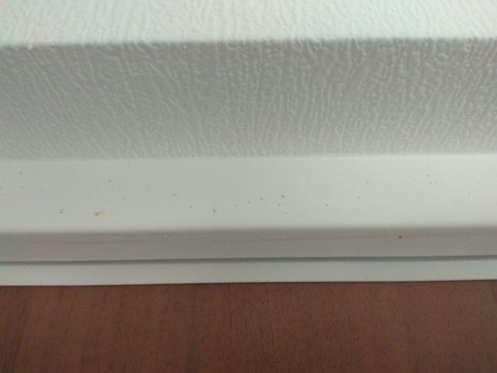 Приёмка квартиры в ЖК Новая Охта: следы ржавчины на дверной коробке входной двери