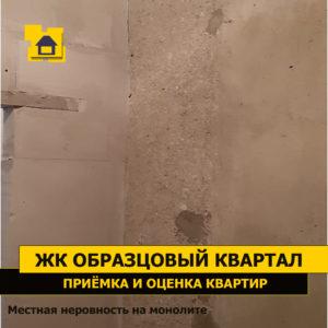 Приёмка квартиры в ЖК Образцовый квартал: Местная неровность на монолите 30 мм перепад на 0.1 м.п.
