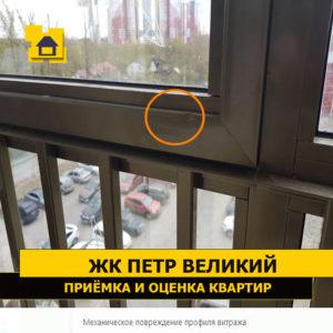 Приёмка квартиры в ЖК Петр Великий и Екатерина Великая: Механическое повреждение профиля витража