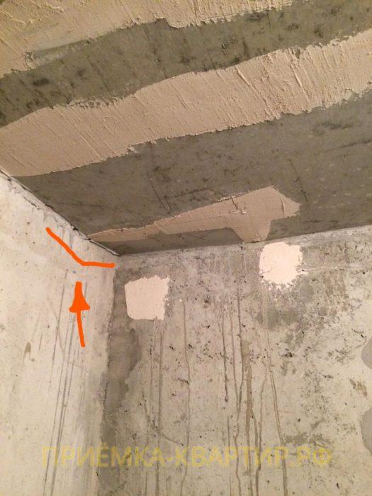 Приёмка квартиры в ЖК Чистый Ручей: Перепад потолка по горизонтали свыше 30 мм