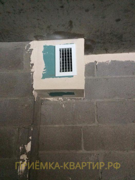 Приёмка квартиры в ЖК Чистый Ручей: Вентиляционный короб собран из ГКЛ криво