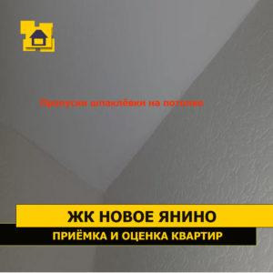 Приёмка квартиры в ЖК Новое Янино: Пропуски шпаклёвки на потолке