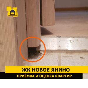 Приёмка квартиры в ЖК Новое Янино: Не загерметизированы примыкания дверной коробки  к напольному покрытию