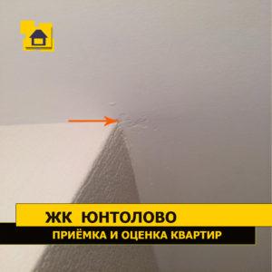 Приёмка квартиры в ЖК Юнтолово: Скол шпаклёвки на потолке