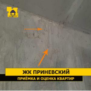 Приёмка квартиры в ЖК Приневский: Наплывы и подтёки раствора на стене в коридоре