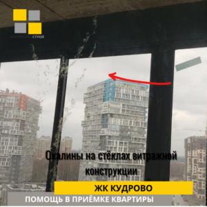 Приёмка квартиры в ЖК Кудрово: Окалины на стёклах витражной конструкции