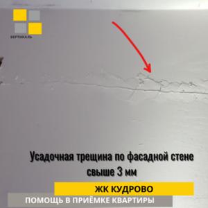 Приёмка квартиры в ЖК Кудрово: Усадочная трещина по фасадной стене свыше 3 мм