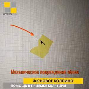 Приёмка квартиры в ЖК Новое Колпино: Механическое повреждение обоев