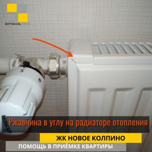 Приёмка квартиры в ЖК Новое Колпино: Ржавчина в углу на радиаторе отопления