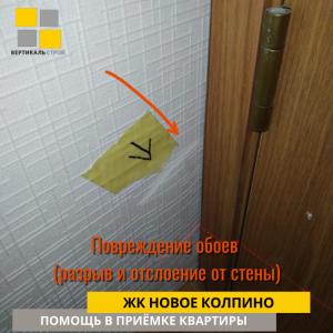Приёмка квартиры в ЖК Новое Колпино: Повреждение обоев (разрыв и отслоение от стены)
